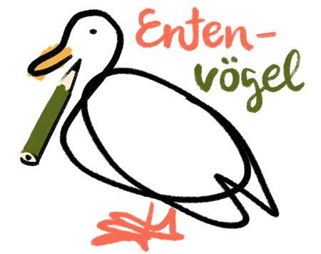Entenvögel zeichnen im Eichenpark an der Alster am Sonntag 28.06.2020