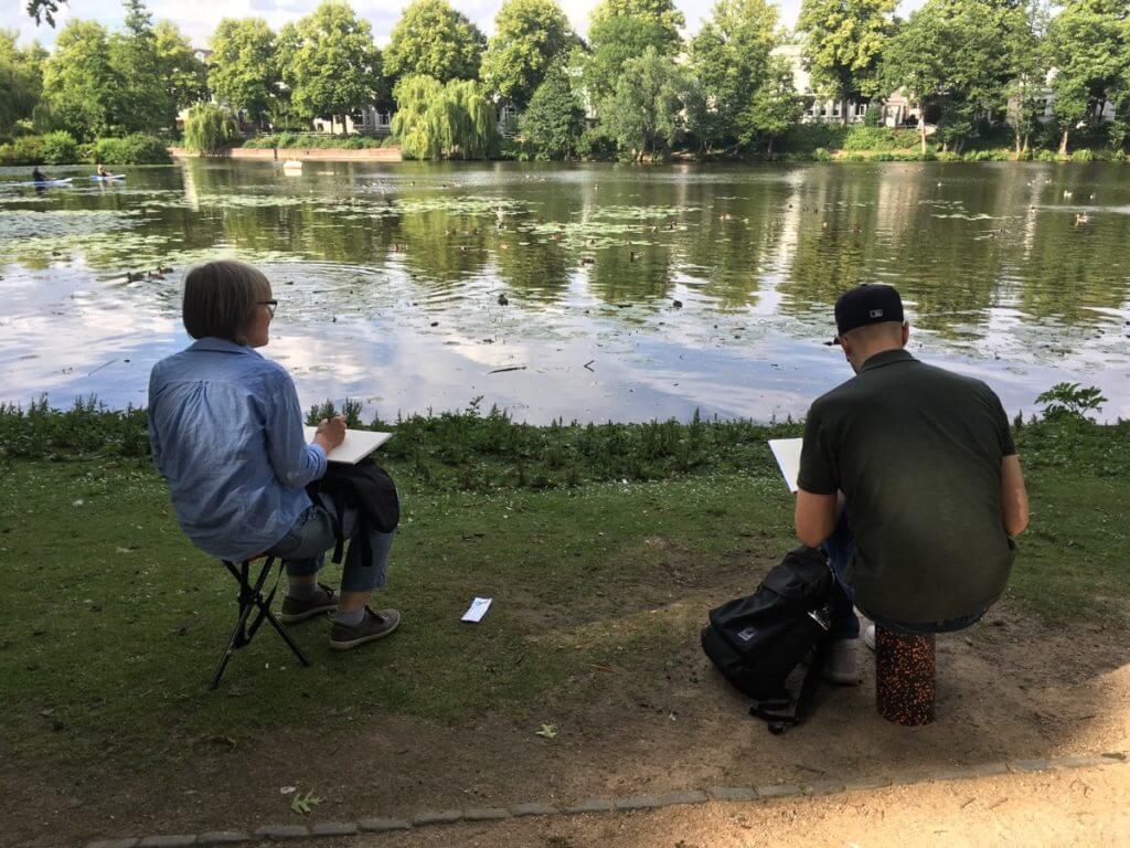 Entenvögel-zeichnen-im-Eichenpark-Hamburg-2020-2